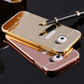 Luxury Electroplating Mirror Case For Samsung Galaxy S7/ S7 edge Hard PC + Aluminum Acrylic Gold Frame Back Cover For Galaxy S7