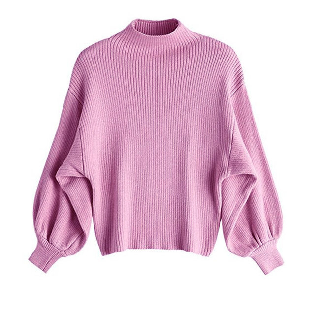Fashion Loose Bat Sweater Women 2019 Autumn Puff Sleeve Knitted Sweater Women Pullover Slime Loose White half Turtleneck 27