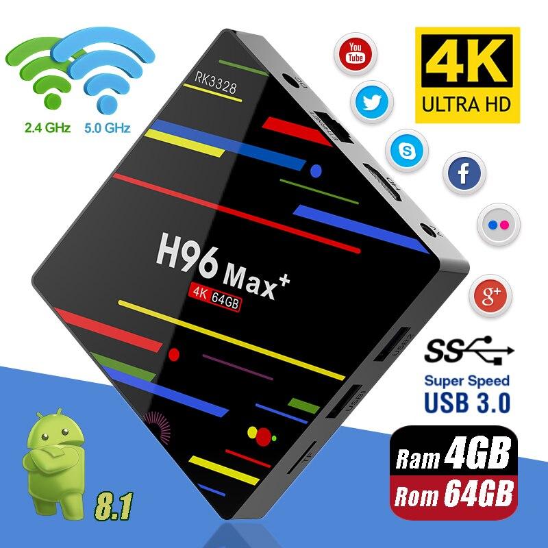 H96 MAX Plus Android 8.1 4G 32G 64G Set Top Boîtes 4 K Ultra HD H.265 boîtier de smart tv USB 3.0 Double Wifi 2.4/5.0G lecteur multimédia