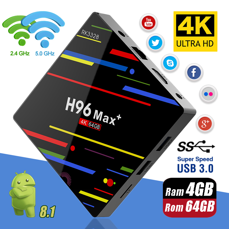 H96 MAX Plus Android 8.1 4G 32G 64G Set Top Boxen 4 K Ultra HD H.265 Smart TV box USB 3.0 Dual Wifi 2,4/5,0G Media Player