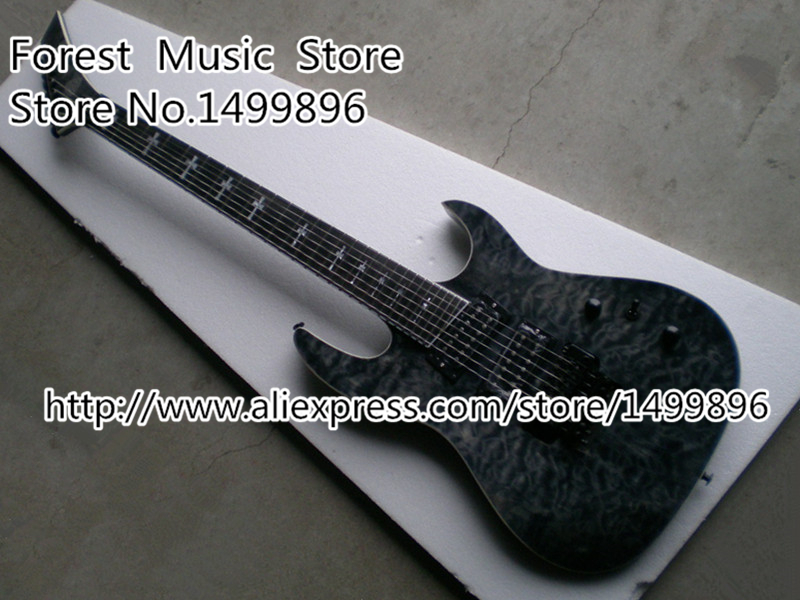 China Custom Shop Grey Quilted Guitar Body 7 String Electric Guitar Left Handed Available new arrival glossy black left handed 7 string guitar electric china custom shop for sale