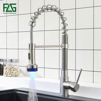 FLG LED Kitchen Faucet Brushed Nickel Faucets for Kitchen Sink Single Pull Out Spring Spout Mixers Tap Hot Cold Water Tap 924-33