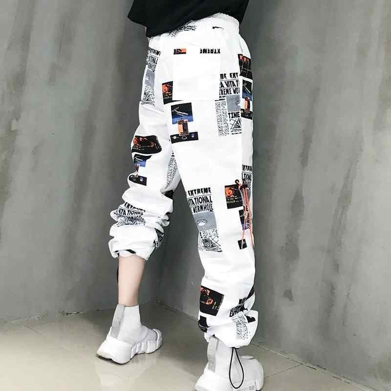 אופנה נשי היפ הופ גבוהה מותניים הרמון מכנסיים נשים מגניב הדפסת מכנסיים Streetwear מכנסיים סתיו נשים Jogger מטענים מכנסיים בנות