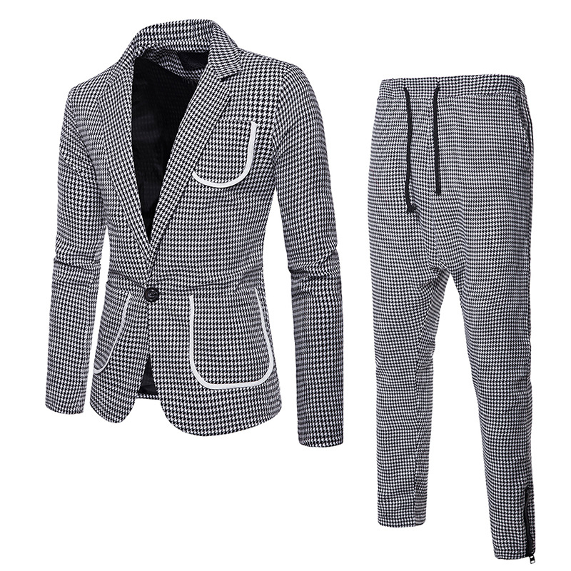 fashion 2019 spring plaid mens suits tuxedo 2 pieces pocket terno slim fit masculino mens suits with pants in Suits from Men 39 s Clothing