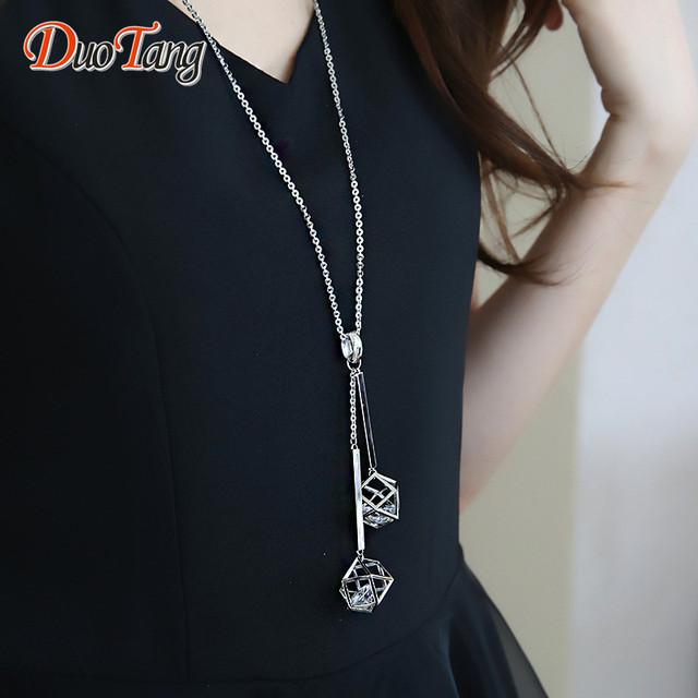 DuoTang Trendy Geométricas Colgante Collar de Plata de Calidad Superior Plateó CZ Moda Bloqueo de Espacio del Sueño a Largo Collar de Mujer Regalo de La Joyería
