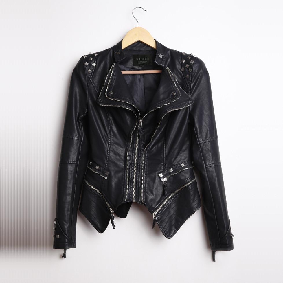 Femmes Vestes Vintage Moto Qualité 2018 Rivets En Steelsir Pour Cuir Manteaux New Mode Heavy De Rock Faux wXqvEq