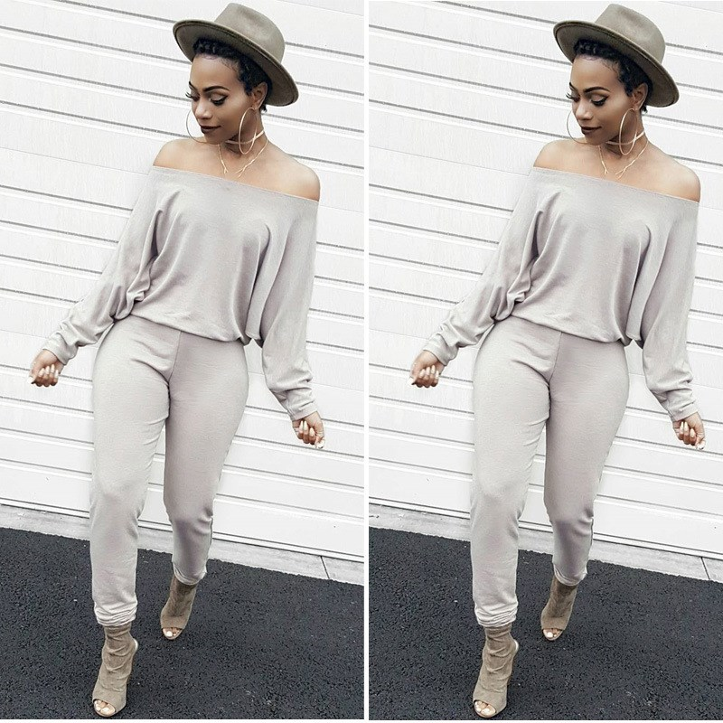 Women Plus Size Off Shoulder Sexy Jumpsuit Loose Batwing Sleeve Slash Neck Jumpsuit Autumn Casual Bodycon Solid Bodysuit