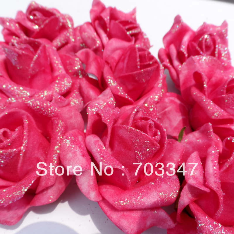 Hot sale 500 x 65cm glitter artificial foam rose head for diy hot sale 500 x 65cm glitter artificial foam rose head for diy flower wreath flower bouquet wedding crafts free shipping in artificial dried flowers mightylinksfo