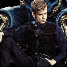 Hot selling! Free shipping!!! NEW tide Men's brand 2015 autumn shirt fashion royal wind slim  patchwork  shirt 13286