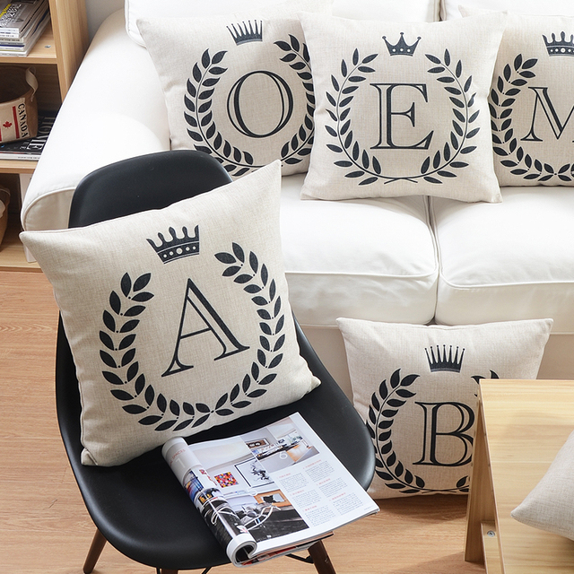 26 English Letters Cushion Cover Family Home Love Baby Names Initials Crown Pillowcase Sofa Throws Linen