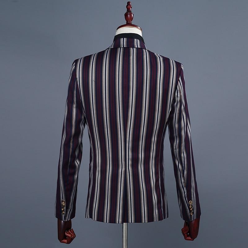 Costume Fit 3 Slim Hommes Blazer Gilet Picture Pantalon Homme veste De Mens D'affaires Robe Masculino Large Pièce Rayé Mariage Chanteur Costumes As Terno wPXAMq4z