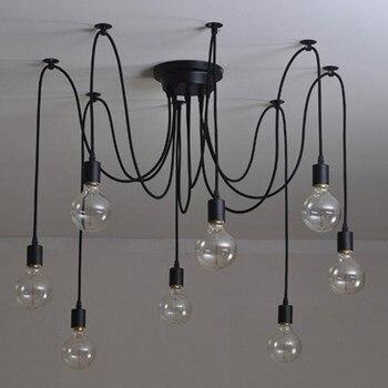 Ретро Паук Люстра лампа Американская страна Эдисон подвесной светильник классический 6-16 голова E27/E26 регулируемый DIY винтажный потолочный с...