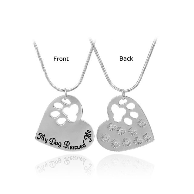 Pet Memorial  Jewelry My Dog Rescued Me Engraved Pet Paw Prints 1