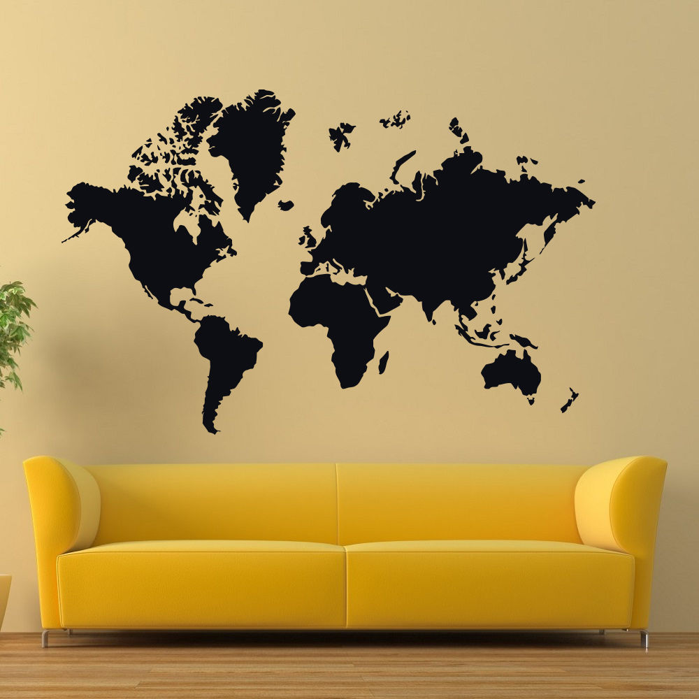 Wall Vinyl Decals World Map Decal Country Sticker Home Decor Art ...