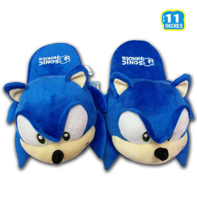 Game Sonic The Hedgehog Plush Slippers 11 Inch Home House Winter Slippers Keychain For Children Women Men Free Shipping
