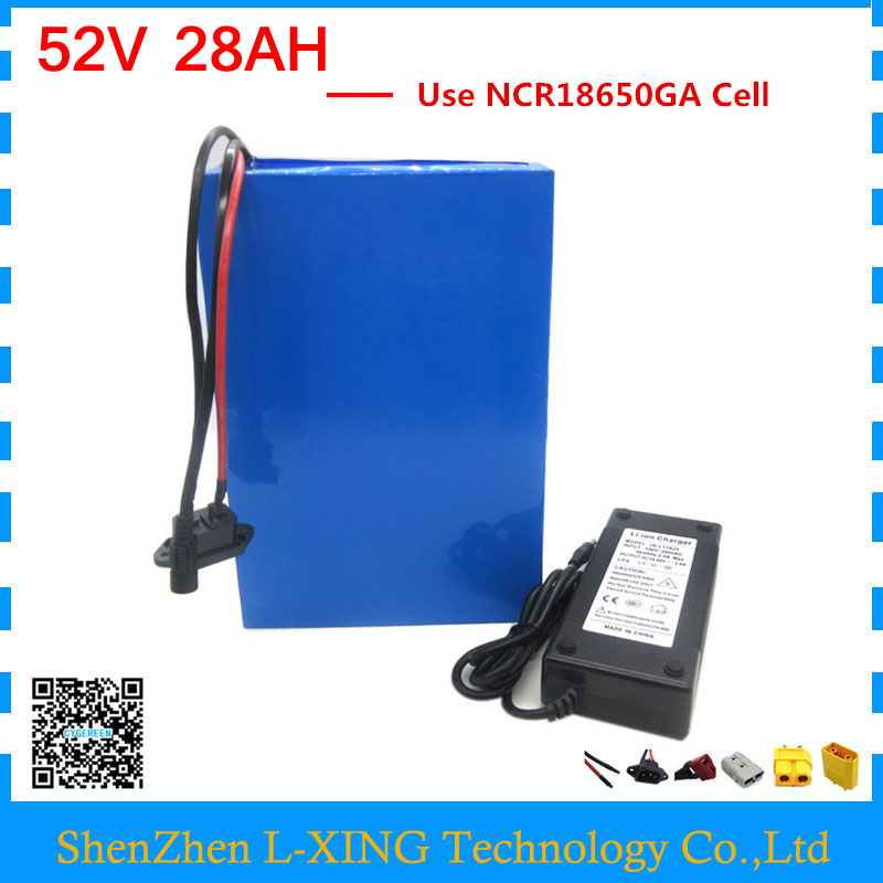 1500W 52V battery 52V 28AH lithium battery pack 52V 28AH ebike battery use NCR18650GA 3500mah cell with charger free customs fee free customs fee 1000w 36v 17 5ah battery pack 36 v lithium ion battery 18ah use samsung 3500mah cell 30a bms with 2a charger