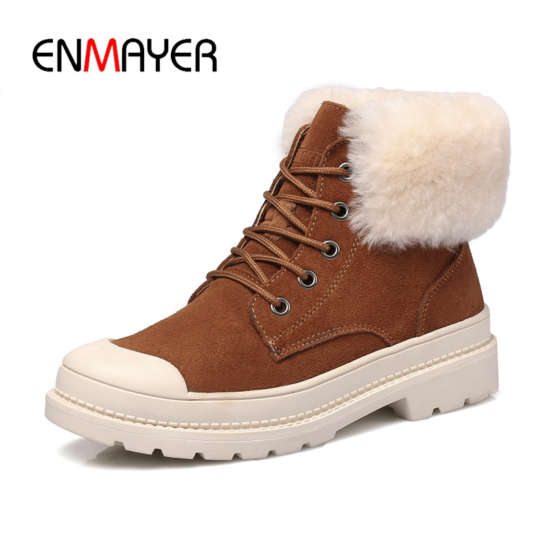ENMAYER Classic Women Winter Boots Suede Ankle Snow Boots Female Warm Fur Plush Insole High Quality Botas Mujer Lace-Up ZYL865 zorssar 2017 new classic winter plush women boots suede ankle snow boots female warm fur women shoes wedges platform boots