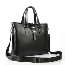 Bele Buckle Closure Male Fashion Hand Bag Genuine Leather Work Briefcase Men Black Coffee Laptop Hand-held