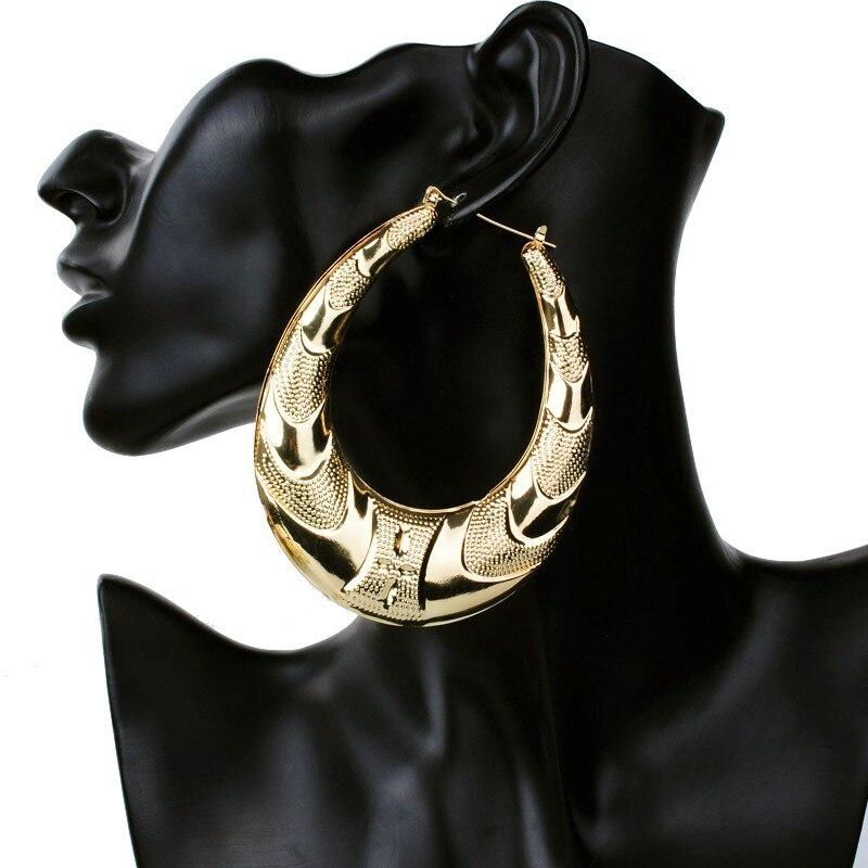 Hip Hop Earrings: Gold Large Big Metal Circle Bamboo Hoop Earrings For Women