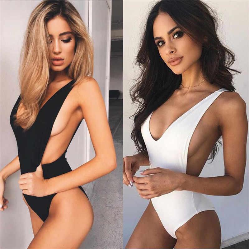 נשים בגד ים Bodysuits סקסי צווארון V ללא משענת ללא שרוולים בגד גוף אופנה מוצק צבע גבירותיי לשחות אמבטיה בגדים
