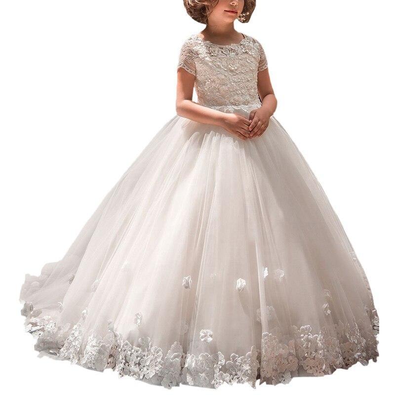 Robe de maille de filles de fleur blanche d'abaoépouser avec des manches robe de bal de première communion robe d'enfants musulmans pour des robes de filles de chidlren