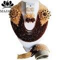Мода Нигерии Свадьба африканские бусы комплект ювелирных изделий Браун Кристалл ожерелье браслет Свадебные Ювелирные наборы Бесплатная доставка G-59