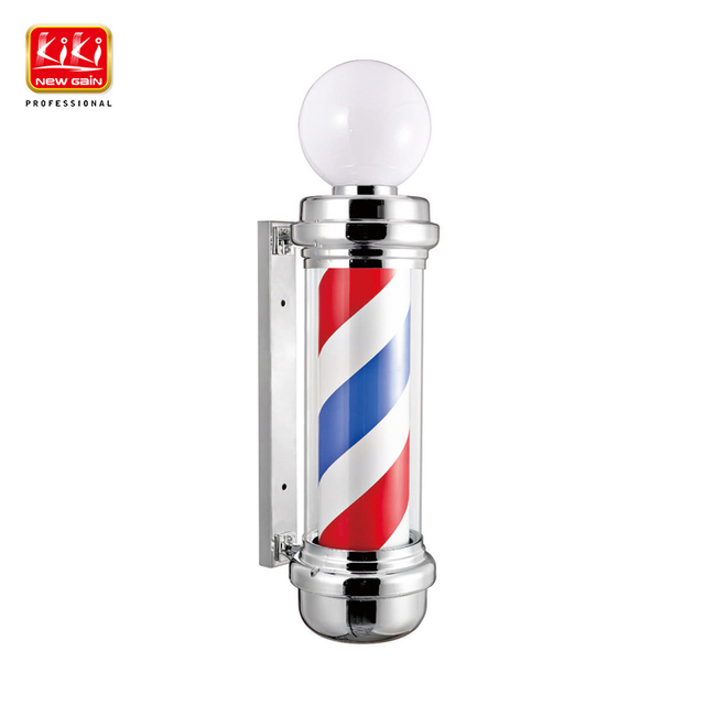 337D. Небольшой столбик с авторотацией со спиральной бело-красно-синей окраской для парикмахерской. С лампой. Оборудование для  профессионального салона-парикмахерской. Вывеска для парикмахера.