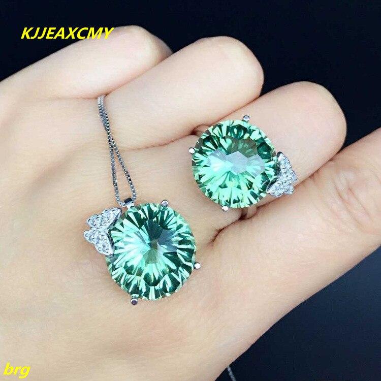цена KJJEAXCMY Fine jewelry, 925 sterling silver set green crystal set crystal ring + pendant butterfly love green lake jewelry set онлайн в 2017 году