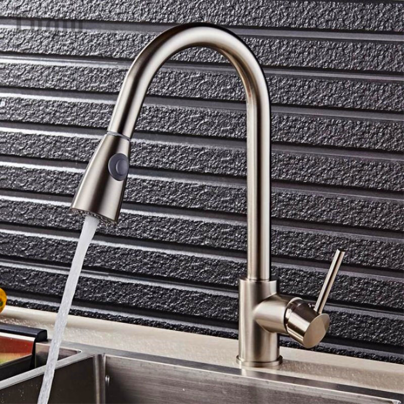 Brass kitchen Nickel/black/gold/chrome cold and hot water tap kitchen sink faucet taps mixer with pull down shower head