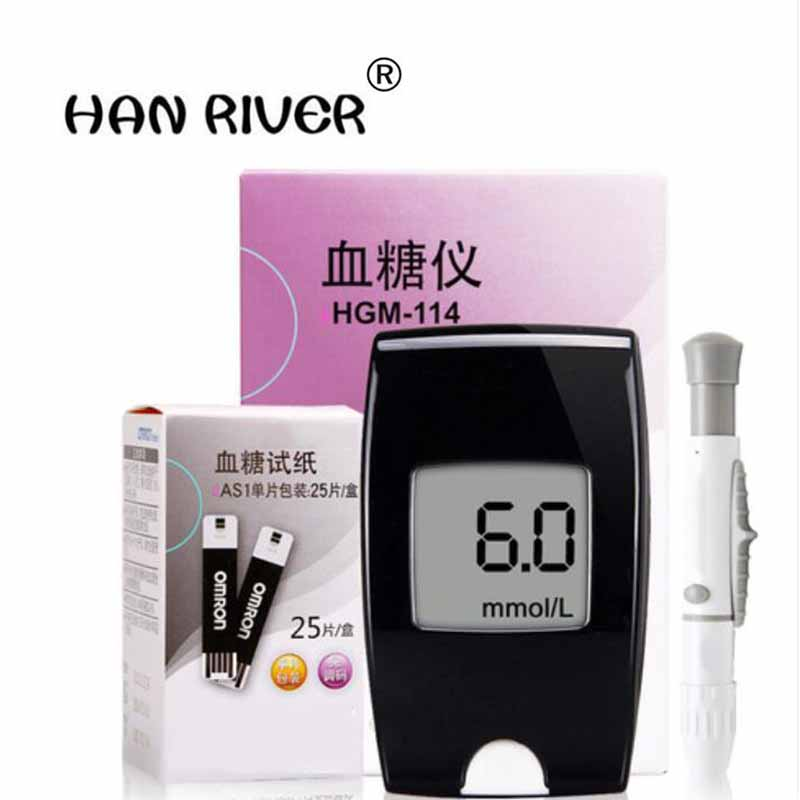 HANRIVER Blood glucose instrument HGM - 114 household barcode glucose meter free + 50 piece of paper in pursuance of the needle one time collector sterile phlebotomy collection needle 50 28g blood glucose injection security lock cassette