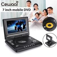 Portable 7 720P Real HD DVD Player Swivel Screen TV Player Support Game Radio MP3 Players