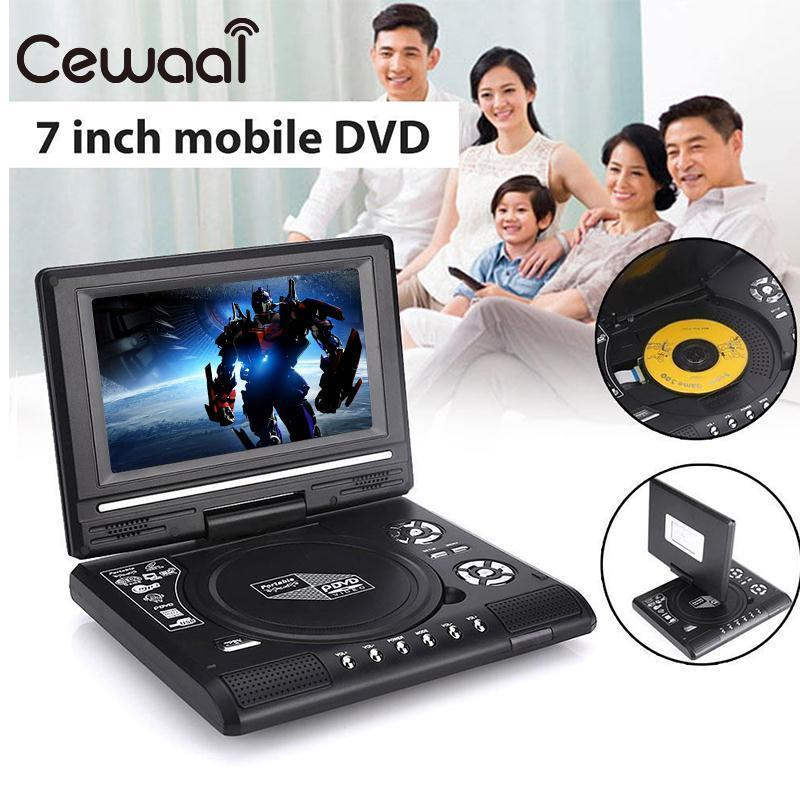 Cewaal Portable 7 720P Real HD DVD Player Swivel Screen TV Player Support Game Radio MP3 Players Professional Home Boy US Plug 9 inch car headrest dvd player pillow universal digital screen zipper car monitor usb fm tv game ir remote free two headphones