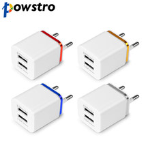 POWSTRO USB Wall Charger Travel Ganda Pelabuhan Adapter Untuk iPhone Samsung iPad Android Phone Charger US Plug atau UNI EROPA Plug 1A 2.1A(China)