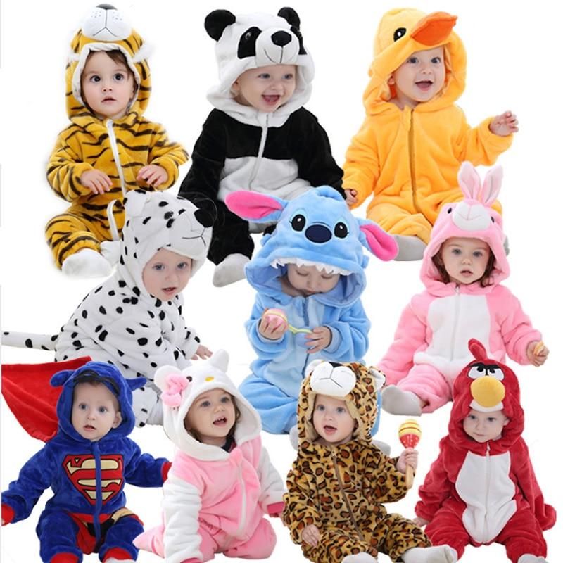 2019 Baby   Rompers   Kigurumi Boys Girls Pajamas Cartoon Flannel Cartoon Rabbit Cotton Animal Newborn   Rompers   Stitch Baby's Sets