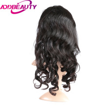 Addbeauty Brazilian Loose Wave Virgin Hair Full Lace Human Hair Wigs Baby Hair 150% Density Hand Tied For Women Natural Black