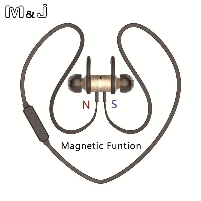 M & J BX325 Metal Magnet di-telinga Auriculares Bluetooth Earphone - Audio dan video mudah alih - Foto 2