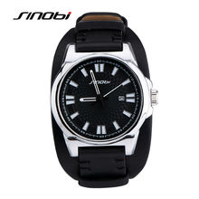 SINOBI Military Sports font b Men b font Wrist font b Watches b font Leather Watchband