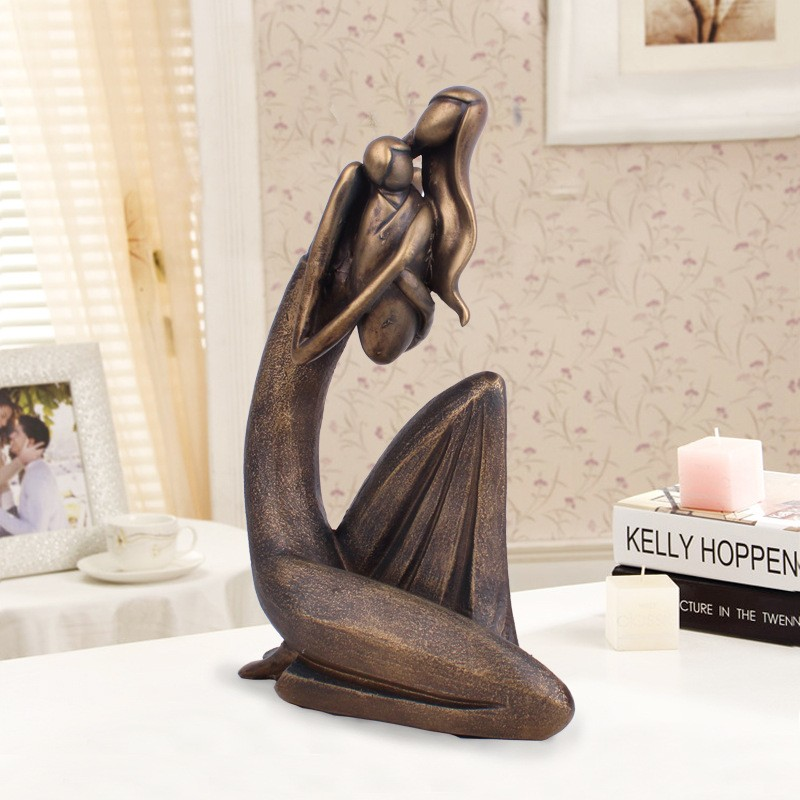 Modern Abstract Resin Figure Sculpture Mother Angel Love Statue Imitation Bronze Mother and Child Ornament Mothers Day GiftModern Abstract Resin Figure Sculpture Mother Angel Love Statue Imitation Bronze Mother and Child Ornament Mothers Day Gift