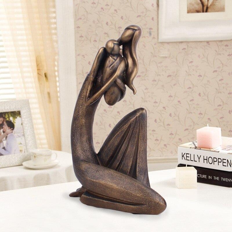 Moderne résine abstraite Figure Sculpture mère ange amour Statue Imitation Bronze mère et enfant ornement fête des mères cadeau