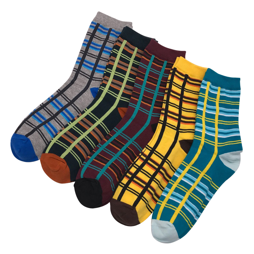 Fashion Casual Men Socks Business Colorful Striped Cotton Soft Spring Autumn Over Ankle Crew Dress Socks