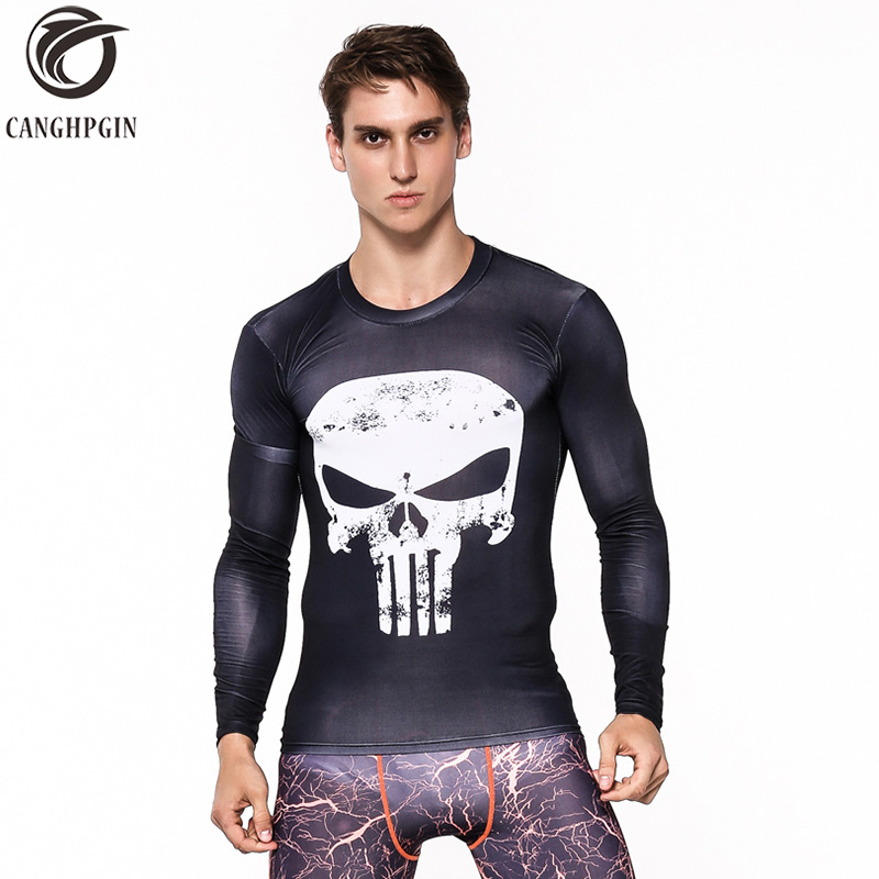 New Punisher 3D T shirt Breathable Rashgard Man Long Sleeve Sport Shirt Men Gym Sports Running T-shirts Top Men's Sportswear MMA цена 2017