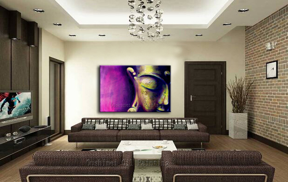 Aliexpress.com : Buy Pure Hand Painted Modern Buddhau0027s Half Face Oil  Painting 5 Kind Color Religious Canvas Painting For Home Or Temple Decor  Art From ...