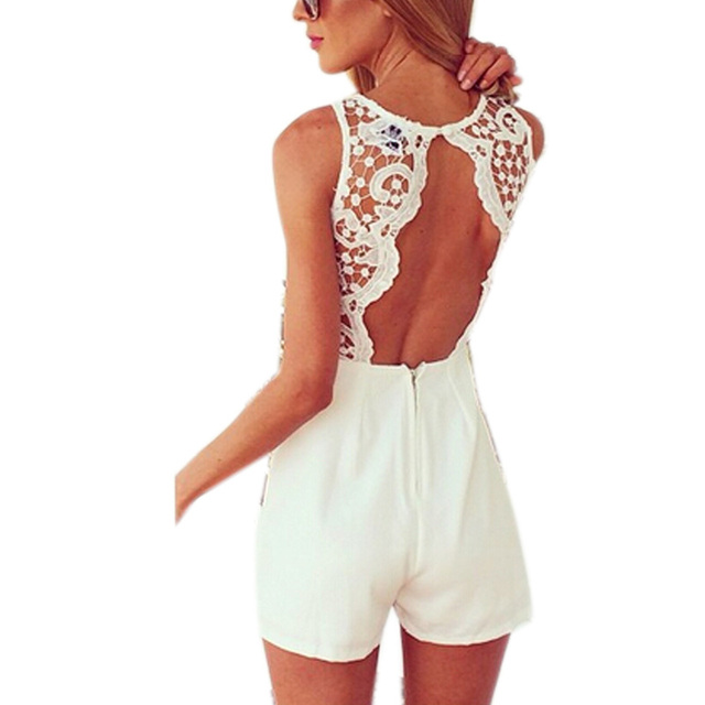 2016 New Arrival Tanque das Mulheres Magras sexy bodycon playsuit jumpsuit Com Rendas Patchwork Sem Mangas shorts jardineiras Macacaos J2314