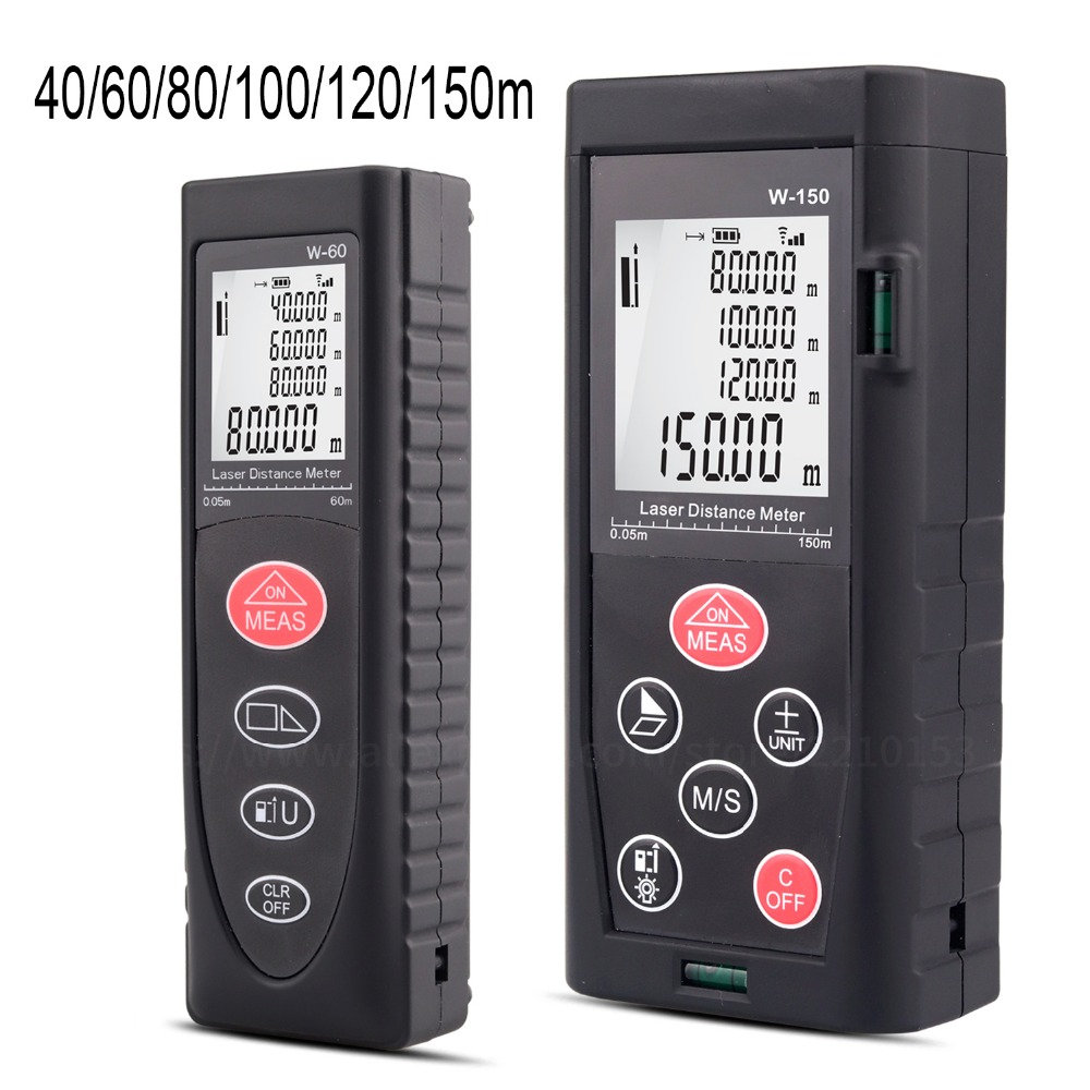 Laser Distance Meter 40m 60m 80m 100m 120m 150m Range Finder Tape Diastimeter Distance Area Volume Laser Measure hot 100m digital laser distance meter measure range finder area diastimeter y