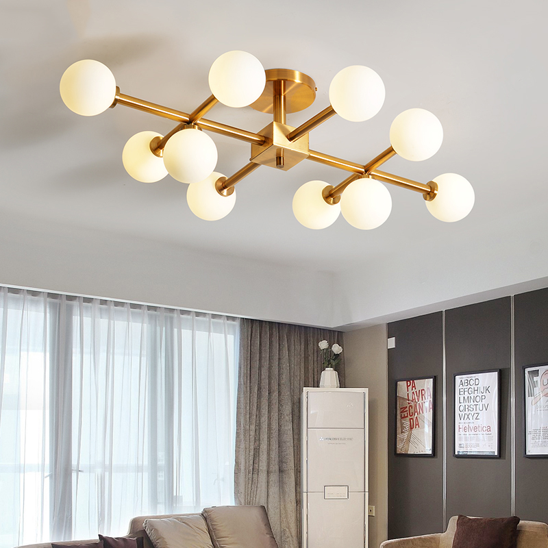 6/10/Heads Nordic Postmodern Originality Magic Restaurant Living Bed Room Ceiling Lamp Glass Round Ball Molecule LED Chandelier