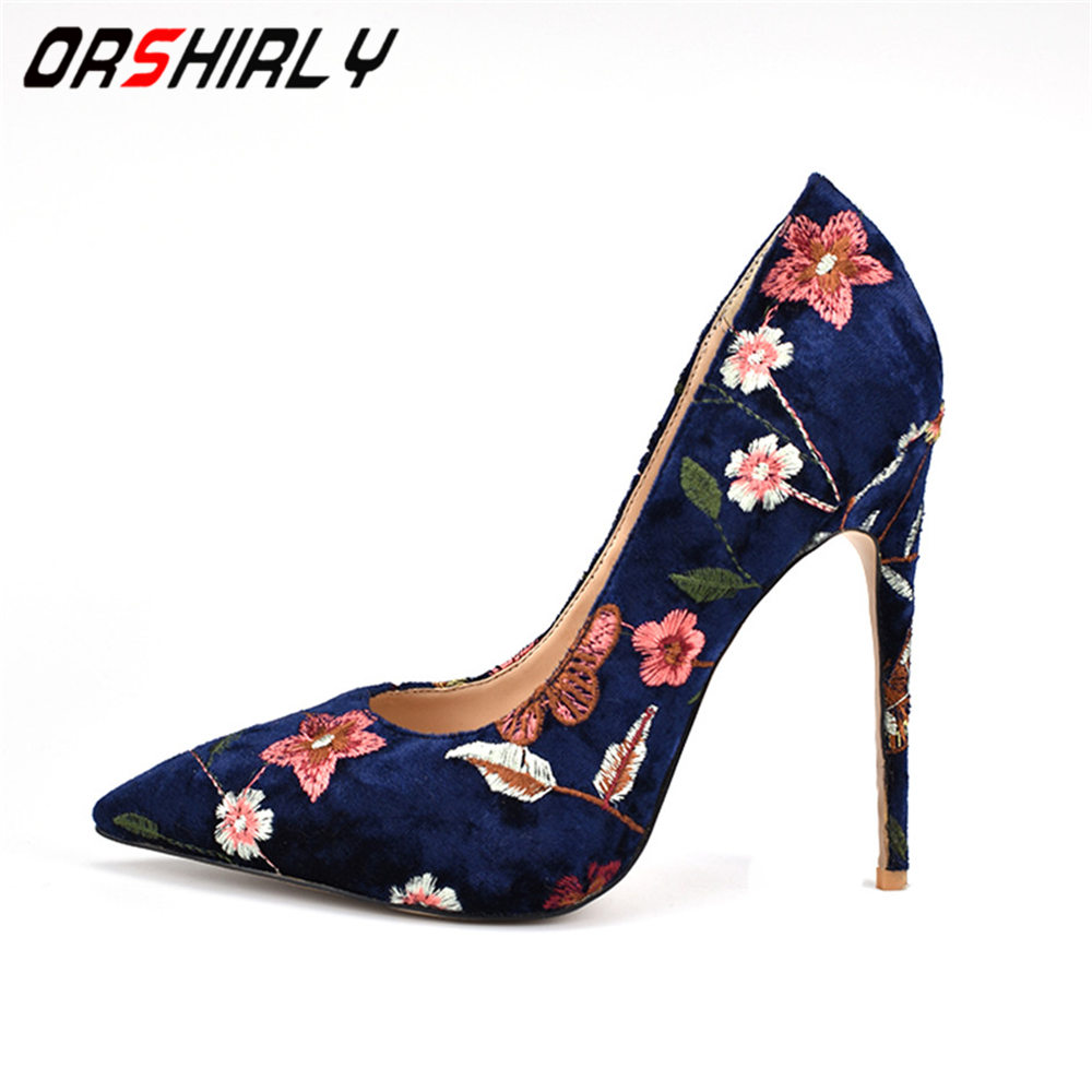 Orshirly Woman <font><b>High</b></font> <font><b>Heels</b></font> Fashion Shoes Big Size 34-42 Embroider 4 colors Wedding <font><b>12</b></font> <font><b>CM</b></font> <font><b>High</b></font> <font><b>Heels</b></font> Shoes Pointed Toe Sexy Pumps image