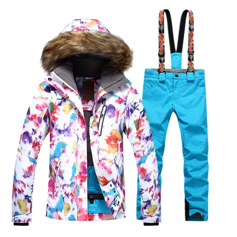 Gsou Ladies Colorful Snowboard Ski Suit Female Thermal Waterproof Snow Jacket Women Ski Pants Skiing Clothing Skiwear brand gsou snow technology fabrics women ski suit snowboarding ski jacket women skiing jacket suit jaquetas feminina girls ski