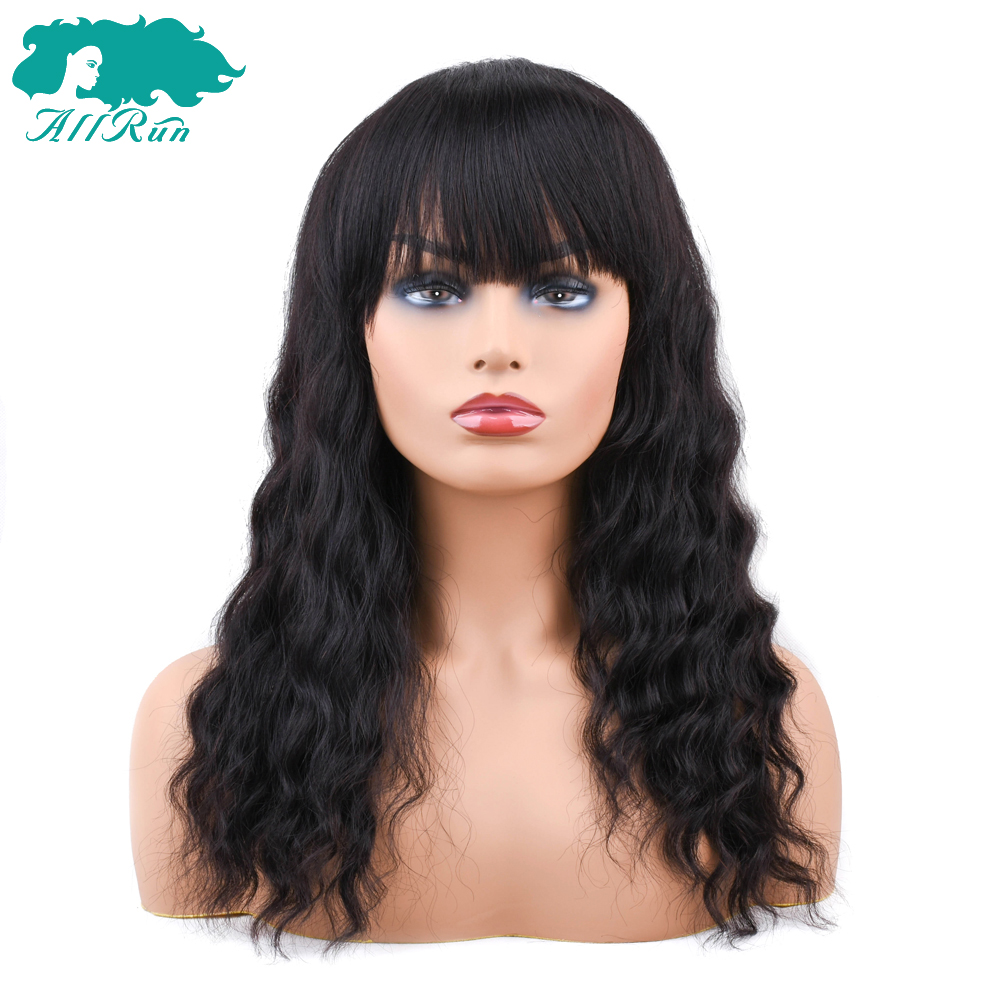Full Range Of Specifications And Sizes Sweet-Tempered Allrun European Non Remy Ocean Wave Human Hair Wigs With Adjustable Bangs Human Hair Wigs Full Machine Natural Color Famous For High Quality Raw Materials And Great Variety Of Designs And Colors