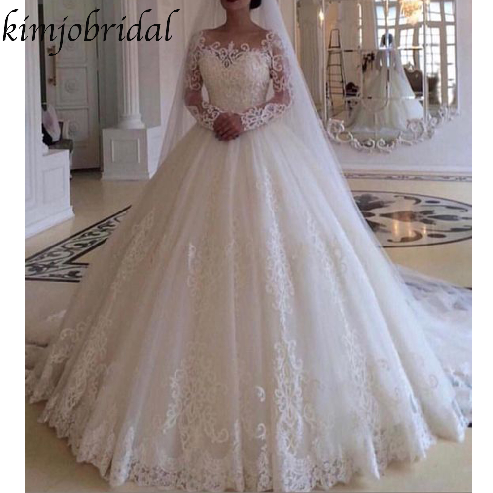 wedding dresses ball gown 2019 v neck long sleeve illusion long sleeve puffy bridal dresses gowns arabic in Wedding Dresses from Weddings Events