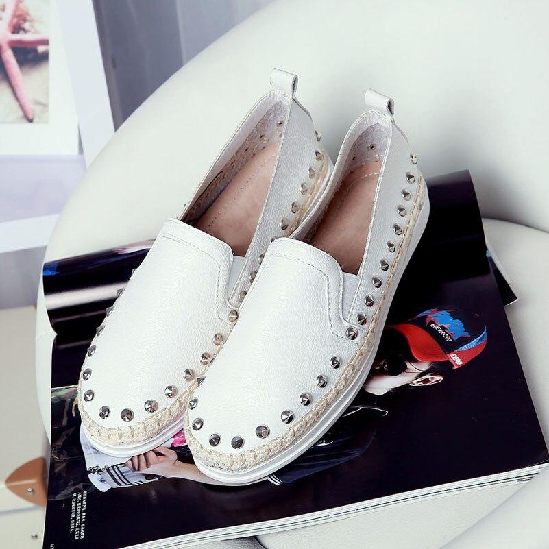 ФОТО women's flats moccasins brand design rivet punk slip-on loafers genuine leather shoes for women female footwear leisure footwear